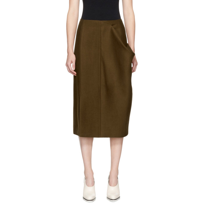 Jil Sander Brown Asymmetric Pocket Skirt