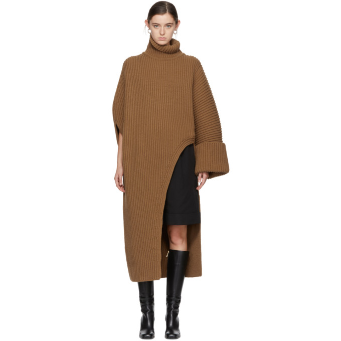 Jil Sander Brown Asymmetric Oversized Turtleneck Sweater