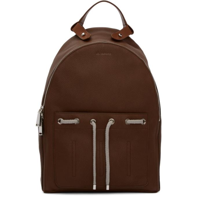 Jil Sander Brown Leather Army Backpack