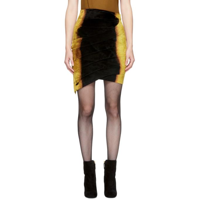Balmain Black & Gold Velvet Miniskirt