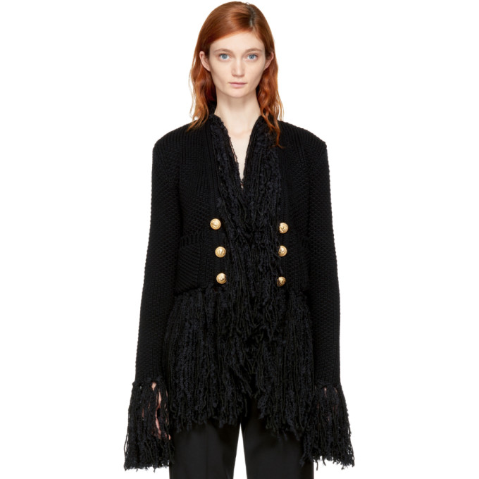 Balmain Black Fringed Cardigan