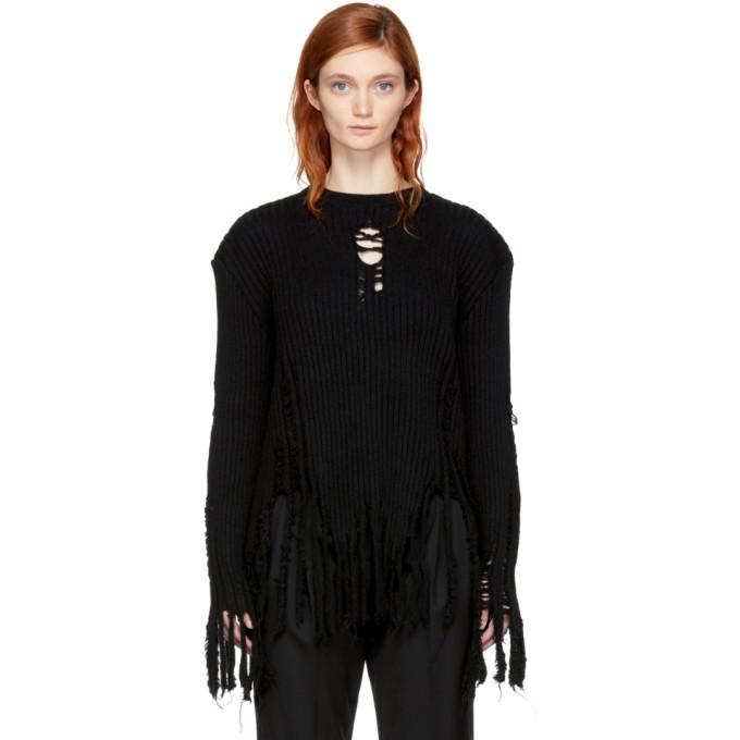 Balmain Black Fringed Wool Sweater