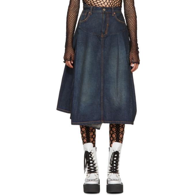 Junya Watanabe Indigo Twisted Denim Skirt