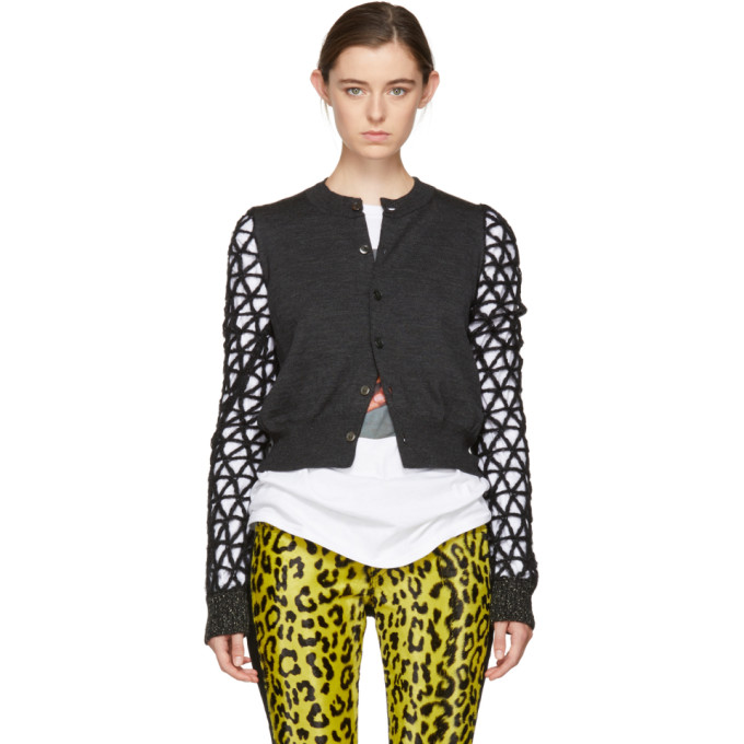 Junya Watanabe Grey & Black Geometric Sleeves Cardigan