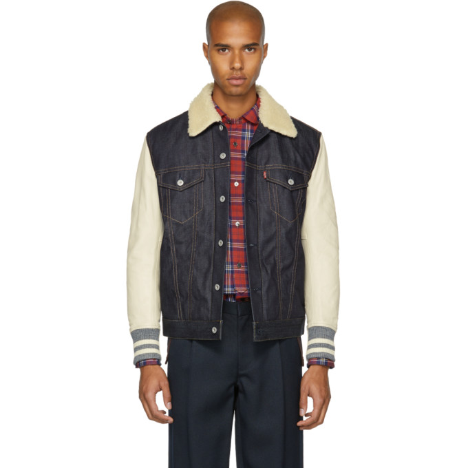 JUNYA WATANABE INDIGO AND BEIGE LEVIS EDITION SHERPA DENIM JACKET