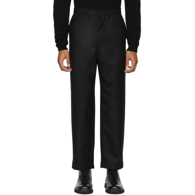 JUNYA WATANABE BLACK WOOL TWILL FLANNEL TROUSERS