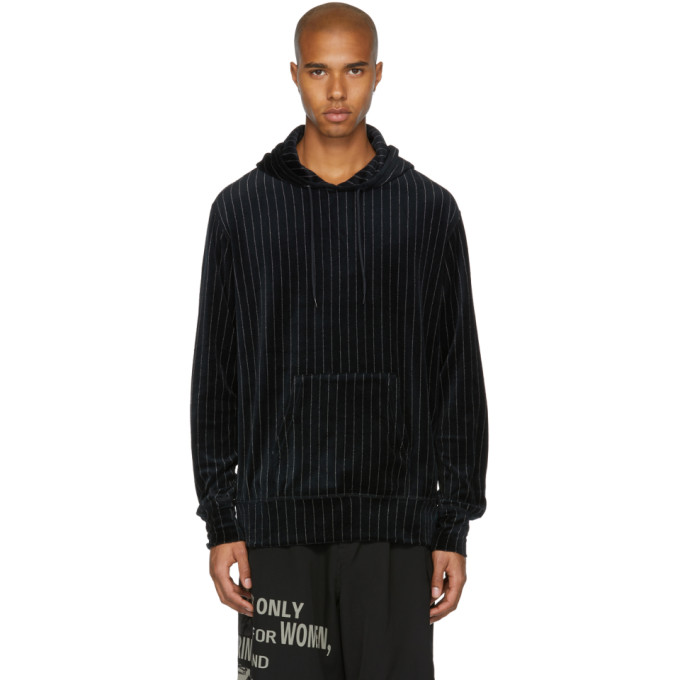 JUNYA WATANABE BLACK AND WHITE VELOUR PINSTRIPE HOODIE