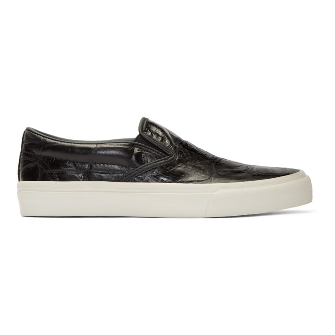 JUNYA WATANABE BLACK CROC SLIP-ON SNEAKERS