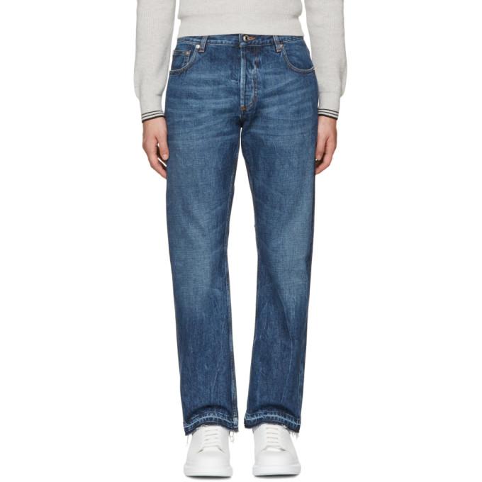 Alexander McQueen Indigo Slit Hem Jeans