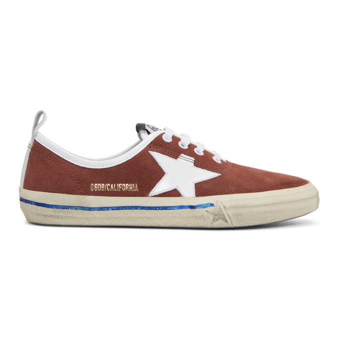 GOLDEN GOOSE Burgundy Suede California Sneakers