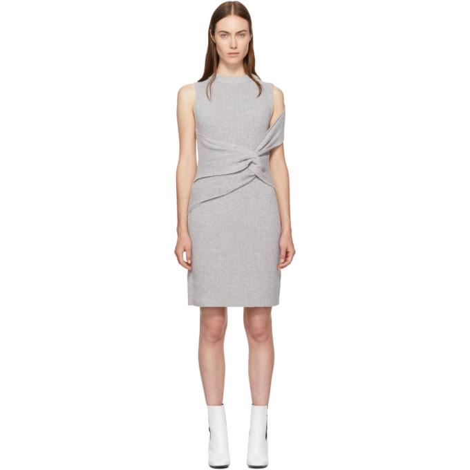 31 Phillip Lim Grey Draped Ribbed Twist Dress