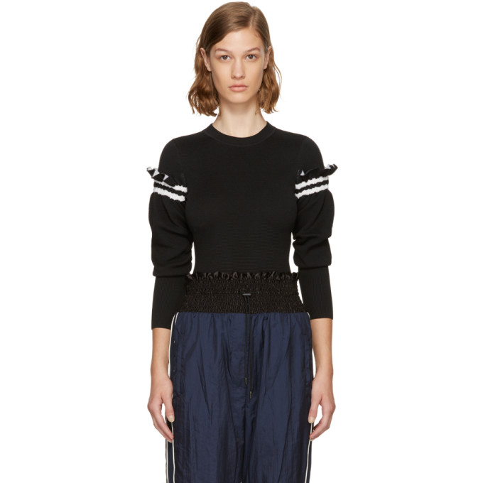 3.1 Phillip Lim Black Ruffle Sleeve Sweater