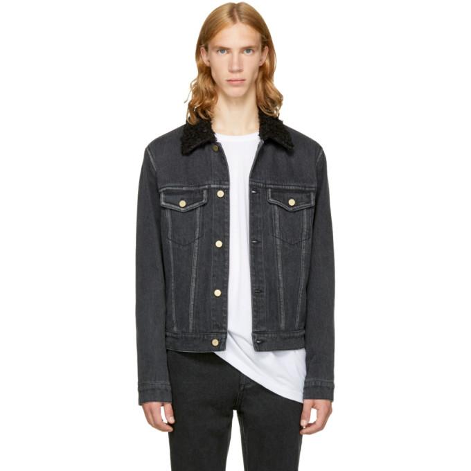 3.1 Phillip Lim Black Denim Sherpa Collar Jacket