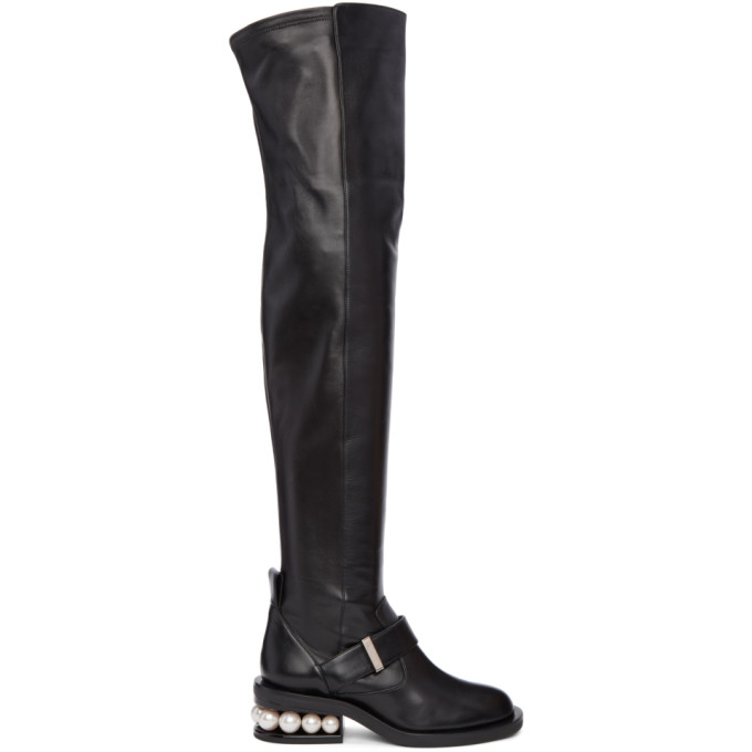 Image of Nicholas Kirkwood Black Casati Pearl Over-the-Knee Boots