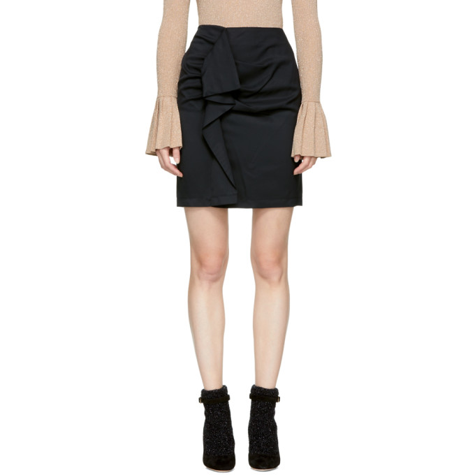 Image of Carven Black Ruffle Miniskirt