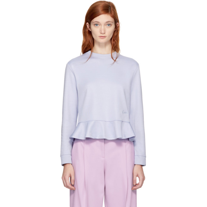 Carven Purple Ruffled Sweatshirt