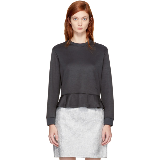 Carven Grey Ruffled Sweatshirt
