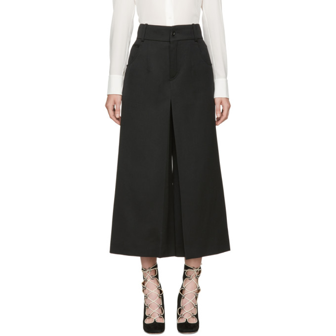 CHLOÉ CHLOE BLACK CROP FLARE TROUSERS