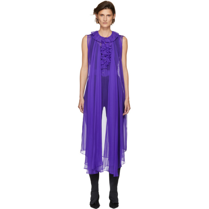 Balenciaga Purple Sheer Long Blouse