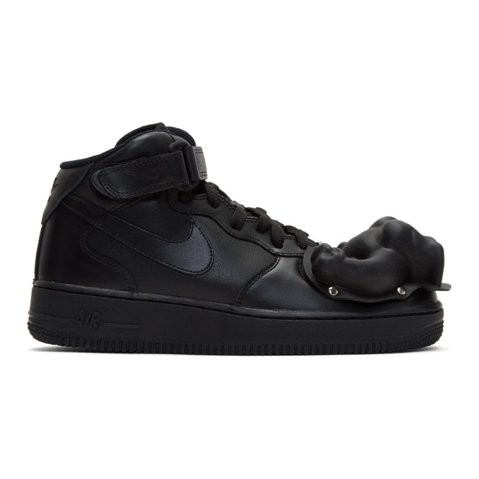 Image of Comme des Garçons Homme Plus Black Nike Edition Air Force 1 Mid '07 Sneakers