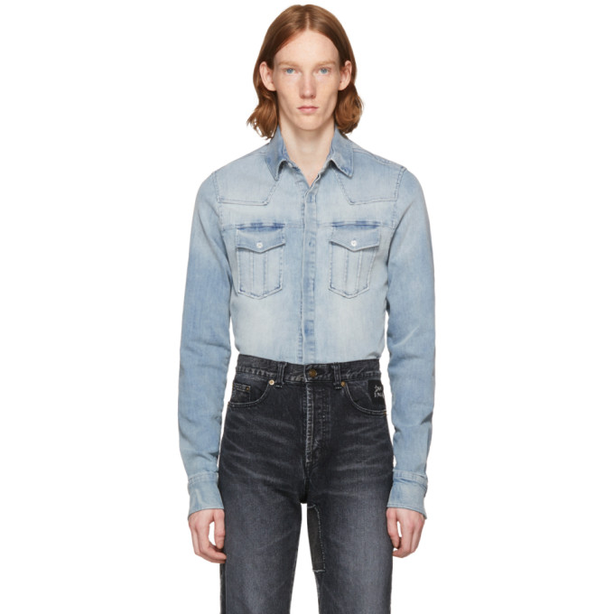48db645d1f Pierre Balmain Blue Denim Shirt