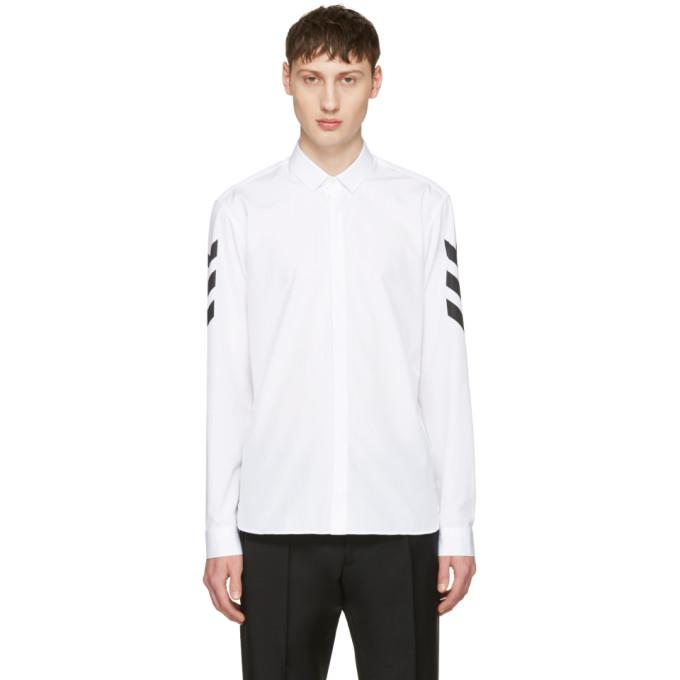 Neil Barrett White Chevron Sleeve Shirt