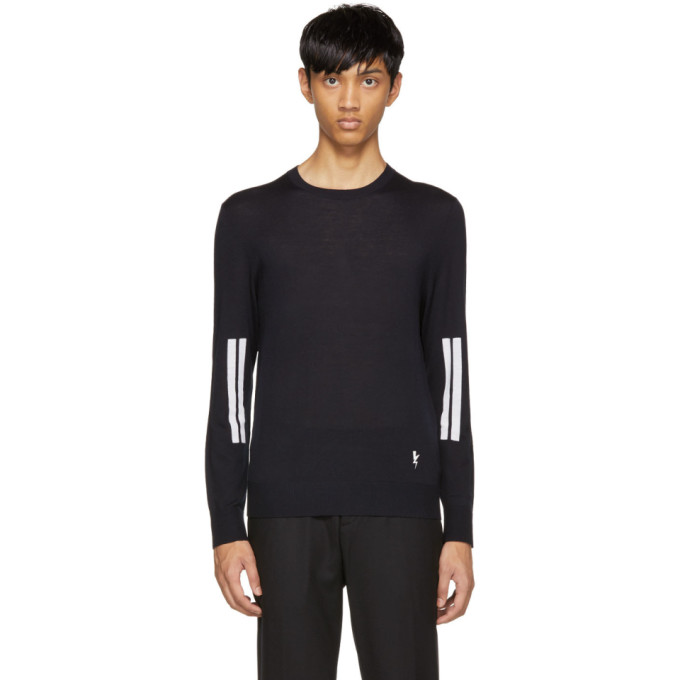 Neil Barrett Navy Double Line Sleeve Pullover