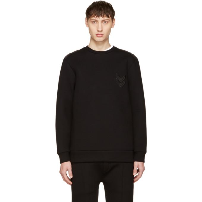 Neil Barrett Black Neoprene Military Sweatshirt