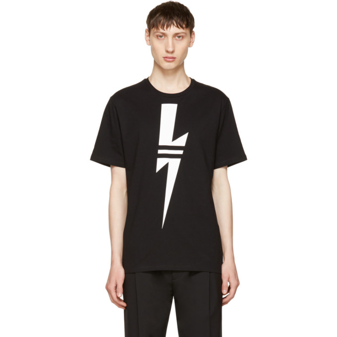 Neil Barrett Black & White Thunderbolt T-Shirt