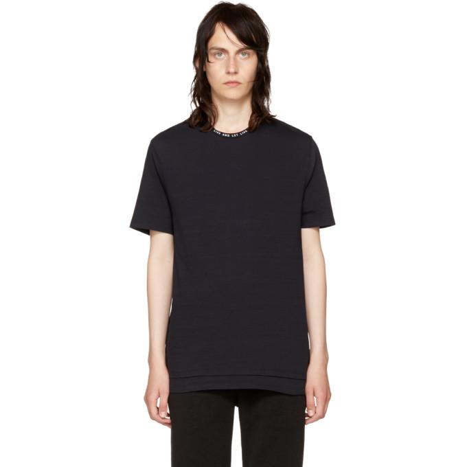 Neil Barrett Black Live and Let Live Collar T-Shirt