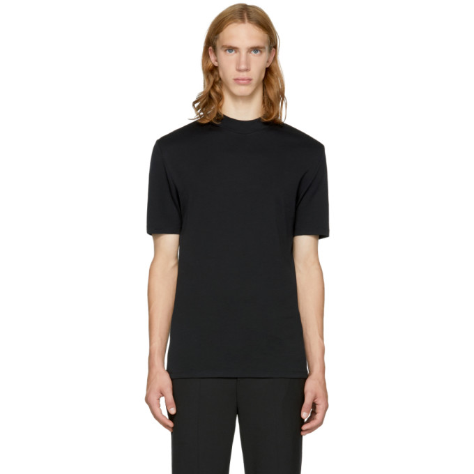 NEIL BARRETT BLACK MOCK NECK T-SHIRT