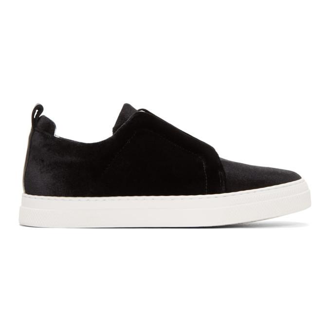 Image of Pierre Hardy Black Velvet Slider Sneakers