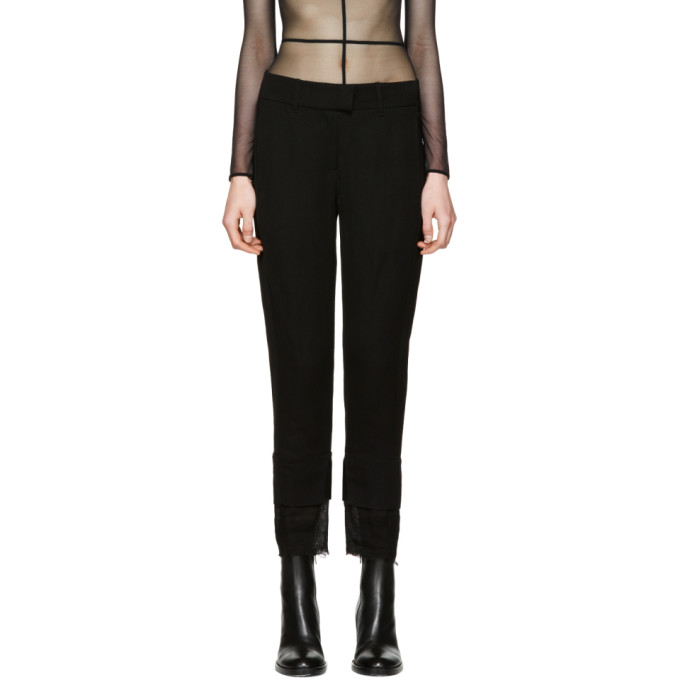 Ann Demeulemeester Black Mustang Cropped Trousers