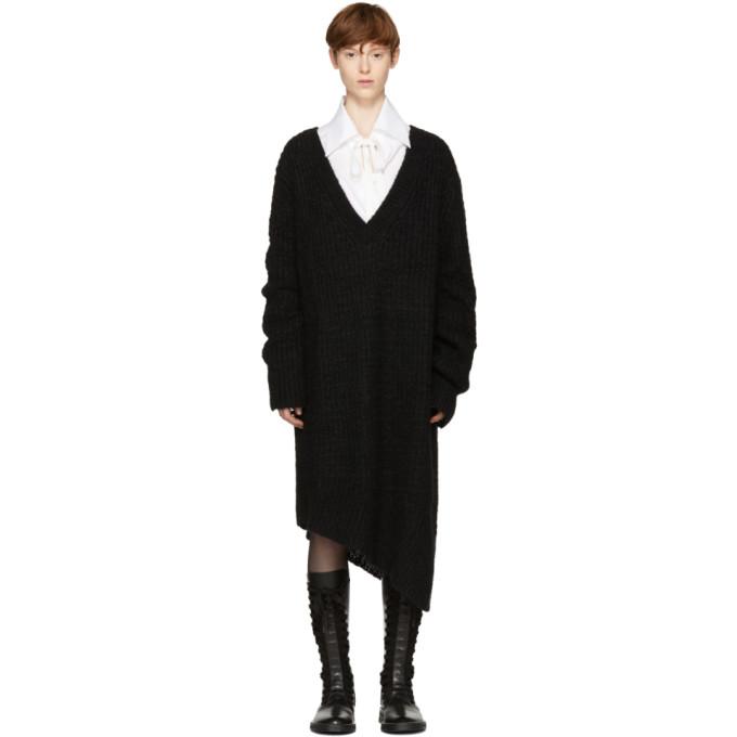 Ann Demeulemeester Black Mohair Trapper Dress