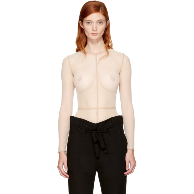 Image of Ann Demeulemeester Beige la fille d'O Edition Tulle Bodysuit