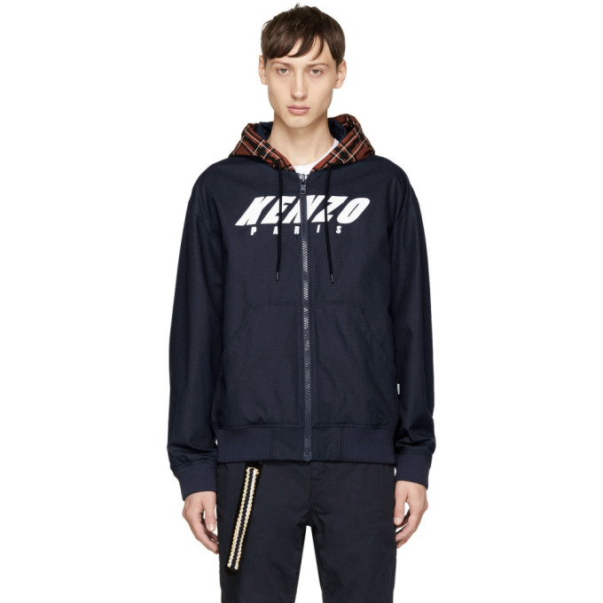 Kenzo Navy Logo Hoodie Jacket