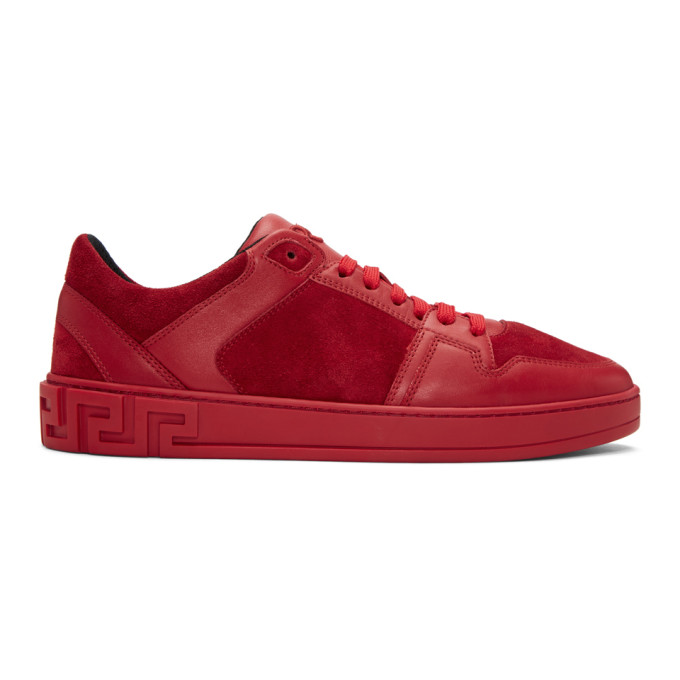 VERSACE RED LEATHER AND SUEDE SNEAKERS