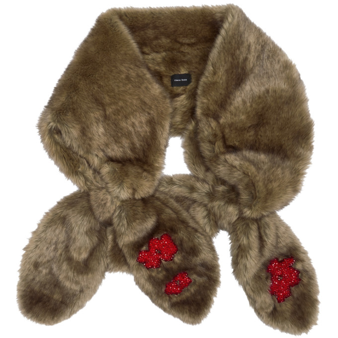 Image of Simone Rocha Beige Faux-Fur Beaded Double Bow Scarf