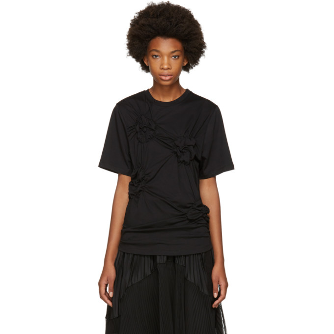Image of Simone Rocha Black Smocked Flower T-Shirt