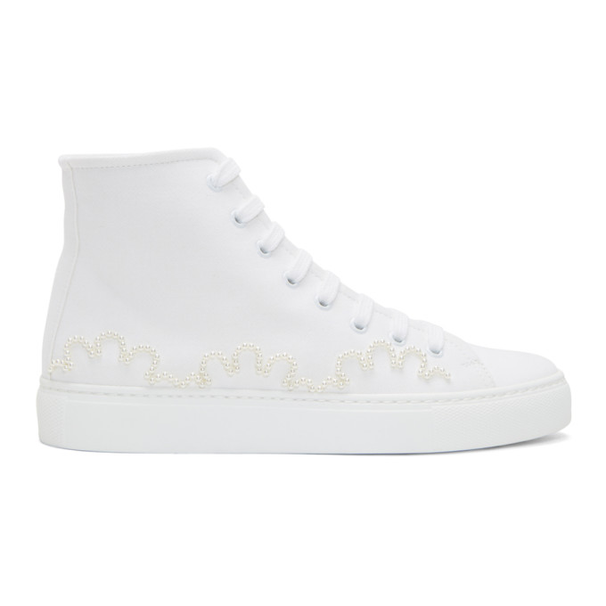 Image of Simone Rocha White Beaded Canvas High-Top Sneakers