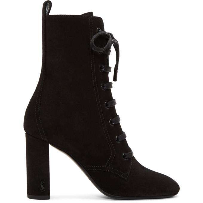 270ff34bb16 Saint Laurent Black Suede LouLou Lace Up Boots