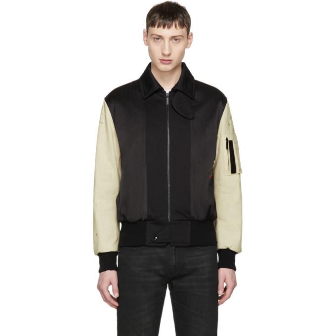 Saint Laurent Black & Beige Embroidered Teddy Bomber Jacket