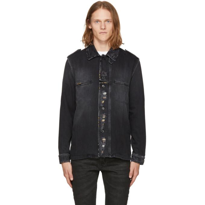Saint Laurent ブラック ディストレス デニム シャツ ジャケット