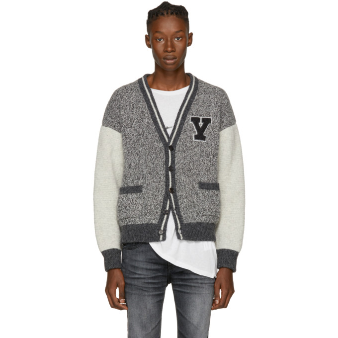Saint Laurent Grey Collegiate Cardigan