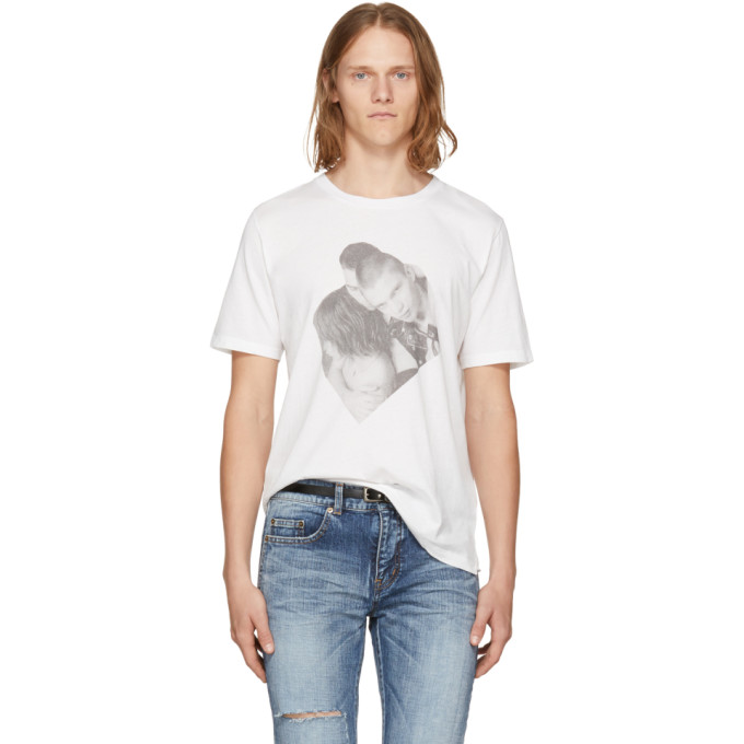 Saint Laurent White Campaign Photo T-Shirt