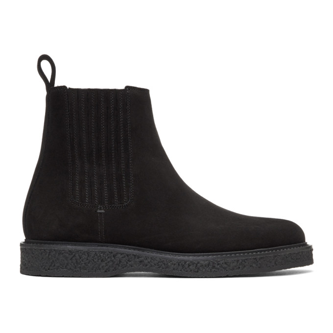 Saint Laurent Black Suede Hugo Chelsea Boots