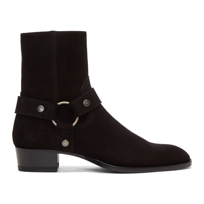 Saint Laurent Black Suede Wyatt Harness Boots