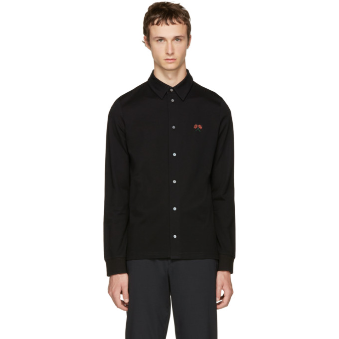 Image of PS by Paul Smith Black Flower Badge Polo Shirt