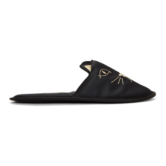 Charlotte Olympia Black House Cats Slippers