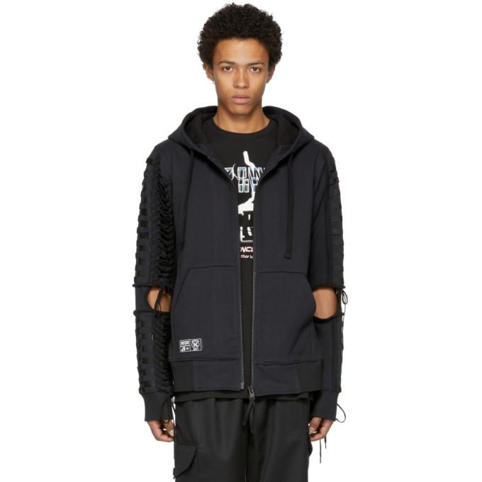 Image of KTZ Black Lace-Up Zip Hoodie